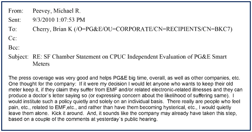Peevey Email Documenting EMF Harm